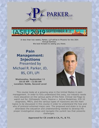 Michael Parker to present at the 35th Annual National IASIU Conference in Phoenix, AZ on September 10.